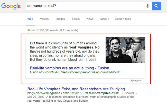 Are Vampires Real - Give Google the Answer! How Featured Snippets Help