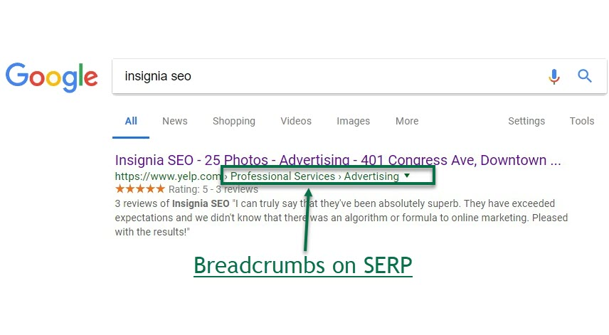 "Breadcrumbs on SERP - Google Uses ""Breadcrumbs"" in New SERP Launch"